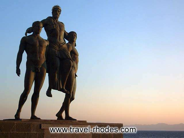 The statue of Diagoras in Rhodes in the sunset light RHODES PHOTO GALLERY - DIAGORAS STATUE