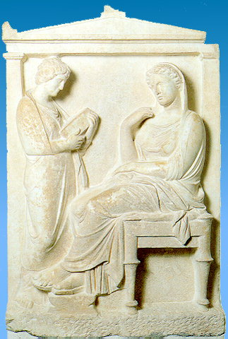 GRAVE STELE OF KALLIARISTA - Grave stele of Kalliarista. It depicts the dead Kalliarista, seated, in a chiton and himation which covers her head. Her servant, standing, holds a pyxis with her cosmetics. The stele has a pedimental capping resting on pilasters. Ca. 350 BC.