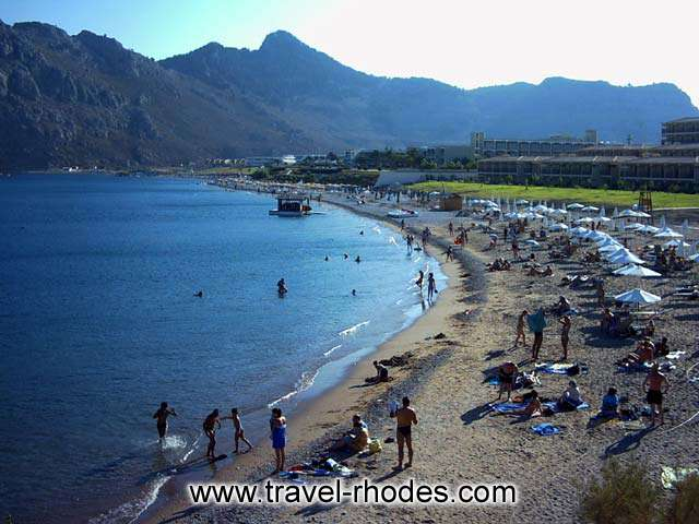 THE BEACH - The organised part of Kiotari beach in Rhodes