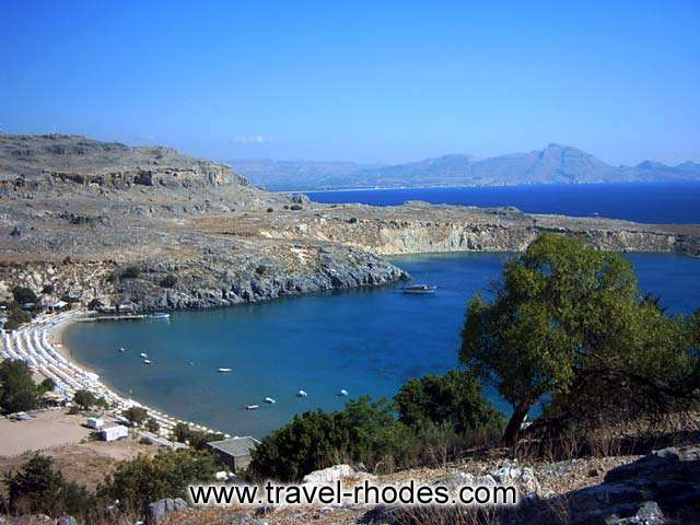 View of the magnificent Lindos beach from the right RHODES PHOTO GALLERY - THE BEACH