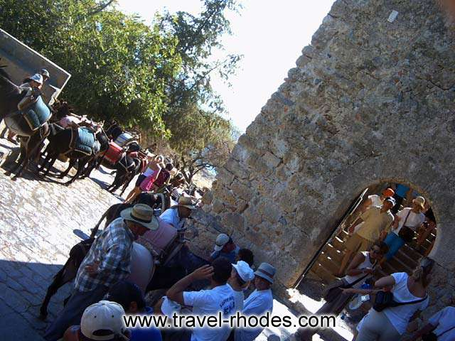 WALKING OR RIDING - In order to climb to Lindos Acropolis you can choose between walking and taking a ride with a donkey