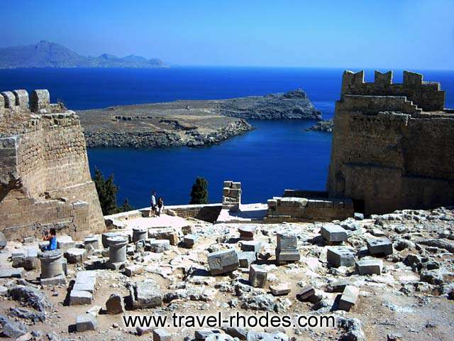 The sea view from inside the castle in the Acropolis of Lindos, Rhodes RHODES PHOTO GALLERY - SEA VIEW