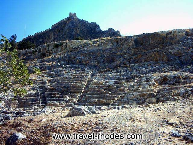 ANCIENT THEATER - The ancient theater in Lindos Acropolis