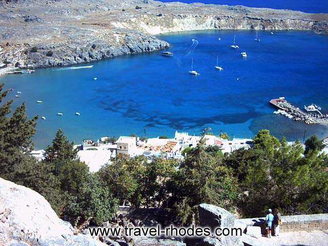 LINDOS PORT - The view of the small port of Lindos from above