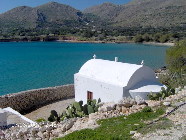 HALKI CHURCH - Chapel above a beach at Halki island