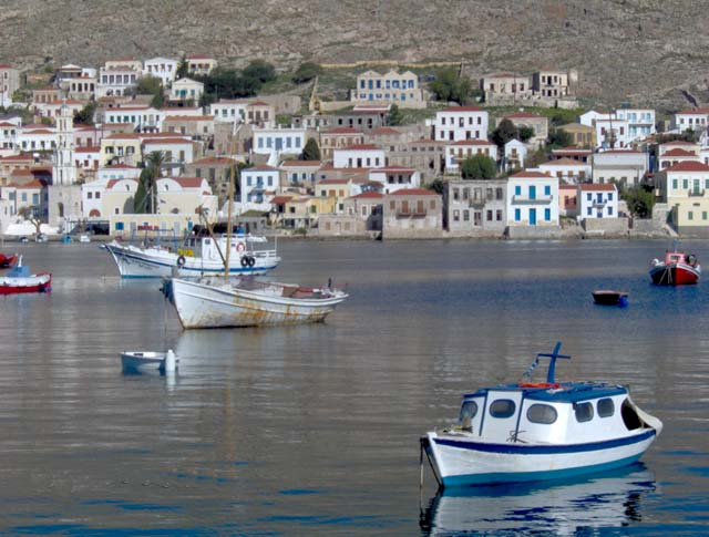 HALKI PORT - Fishing boats in Halki island port