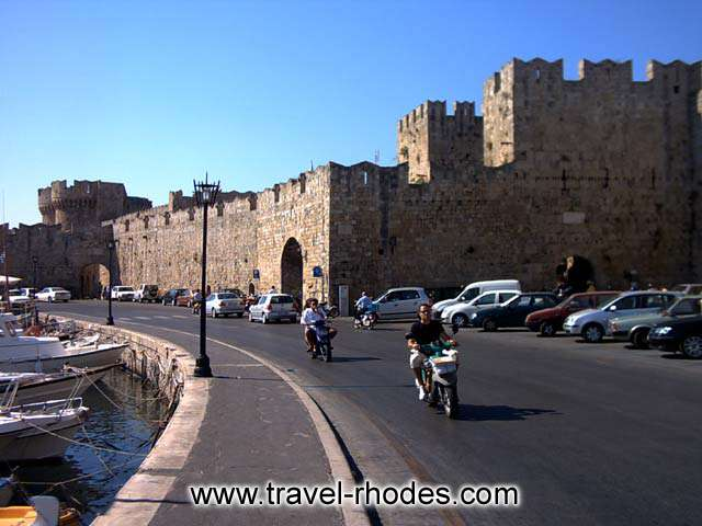 CITY WALLS - The city walls of Rhodes town seen from the port