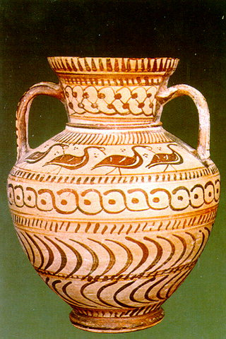 AMPORA -  Amphora of Fikellura style Rhodian workshop. It has palmettes below the handles and depicts an animal on the front and back. 6th c. BC.