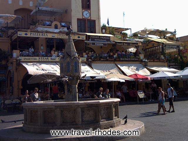 HIPPOCRATES SQUARE - Coffee shops and restaurants in Hippocrates square in Rhodes old town