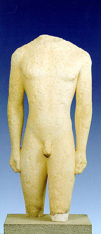 KOUROI - Two headless Archaic kouroi from Kamiros. 550-530 BC.
