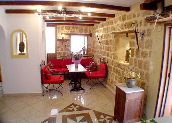 View of lobby area of Hotel Cava Doro at Rhodos (Rhodes) Greece. CLICK TO ENLARGE