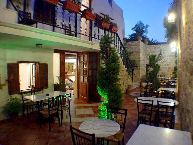 Picture of Garden area, Hotel Cava Doro in the Medieval Town (old town) Rhodos (Rhodes) island, Dodecanese. CLICK TO ENLARGE