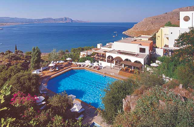 THE PANORAMIC VIEW OF THE HOTEL LINDOS MARE AND THE BEACH INFROND OF THE HOTEL CLICK TO ENLARGE