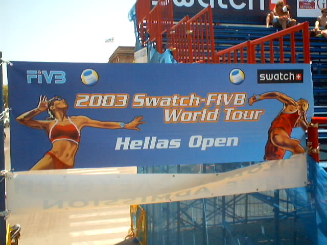 The first event of the 2003 SWATCH-FIVB World Tour drew to an exciting close on Sunday here on this picturesque Greek island when the world's leading men's teams battled it out for the title on a court set up in a historic square just adjacent to the beach. And to capture the advantage of the magnificent Mediterranean evening air it was, as it will be at the 2004 Athens Olympic Games, held under lights.<br><br>